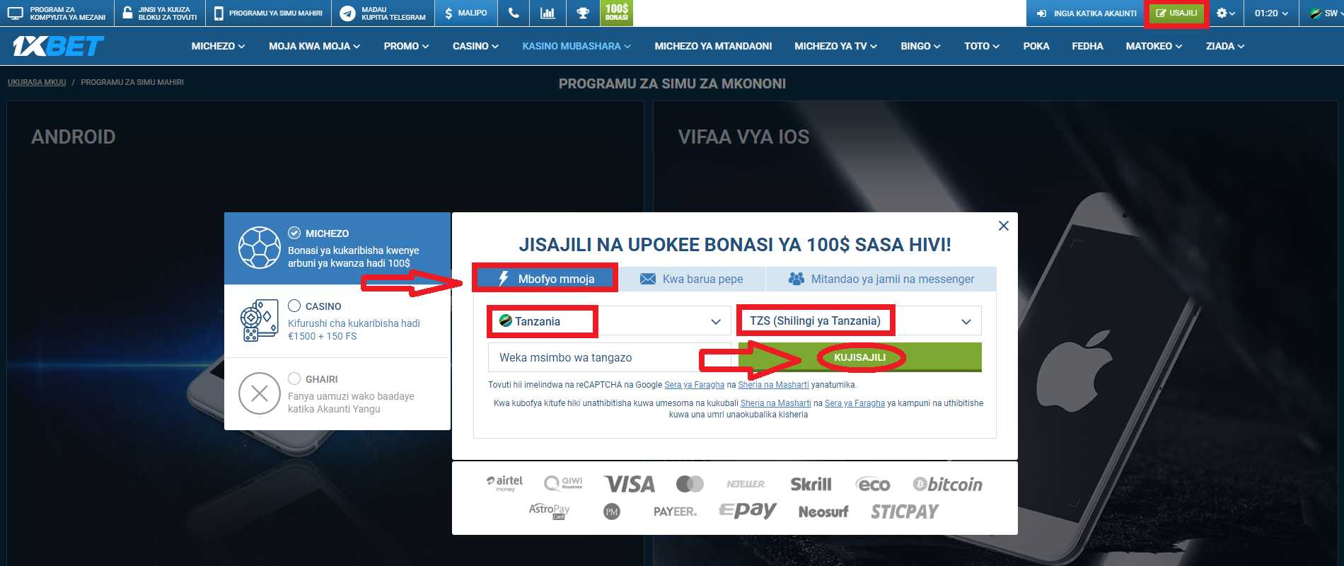 How to Create 1xBet Login Tanzania